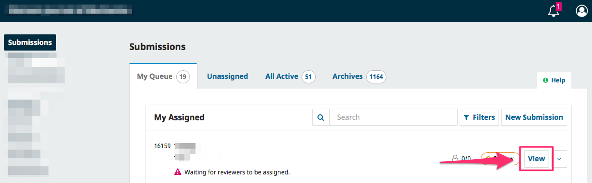 The My Assigned queue of a Section Editor with assigned submissions.