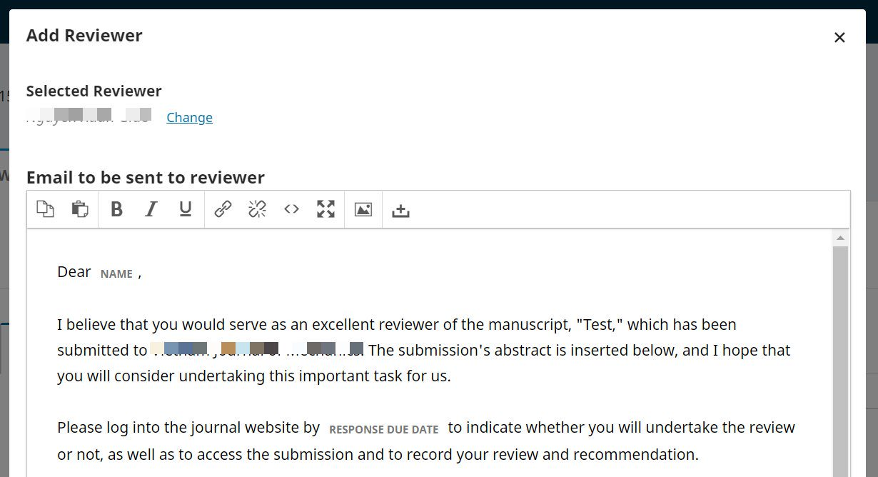 The Add Reviewer screen with email notification template.