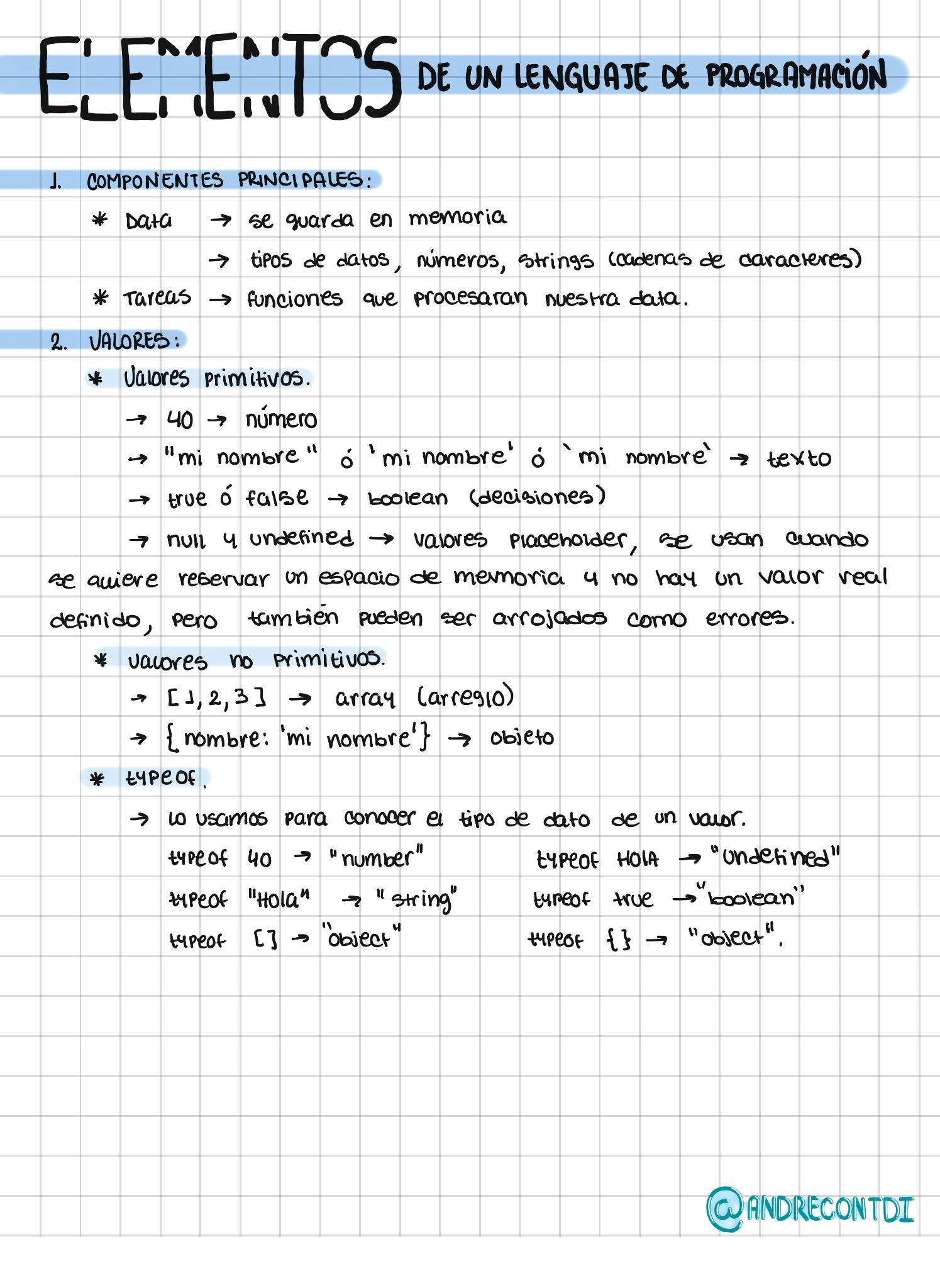 Elementos de un lenguaje de programación