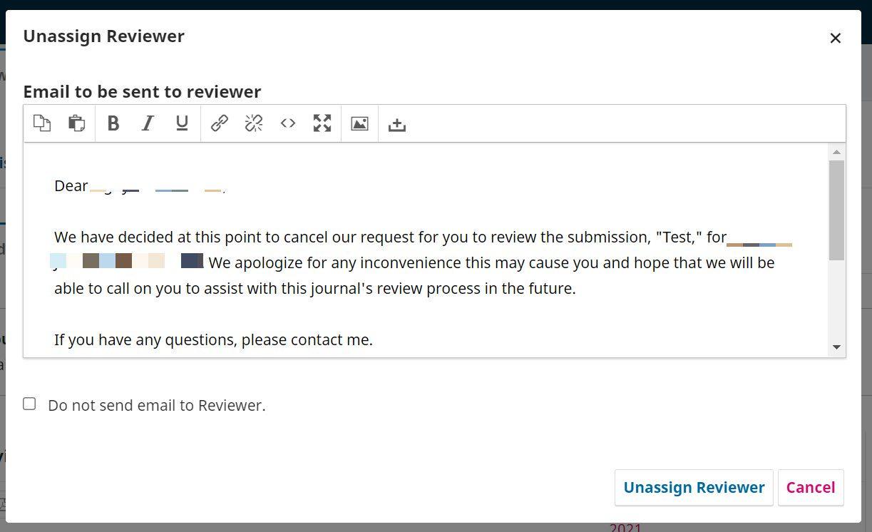 The Unassign Reviewer window.