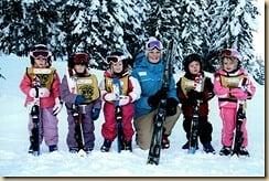 Lara på ski - hele gruppen